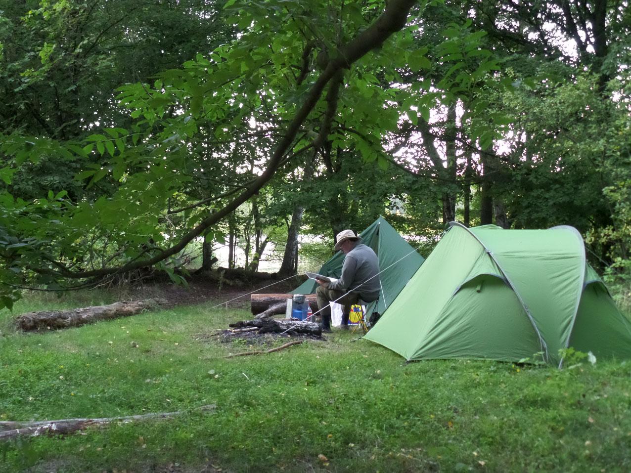 Ons kamp op het eiland in de Köthener See