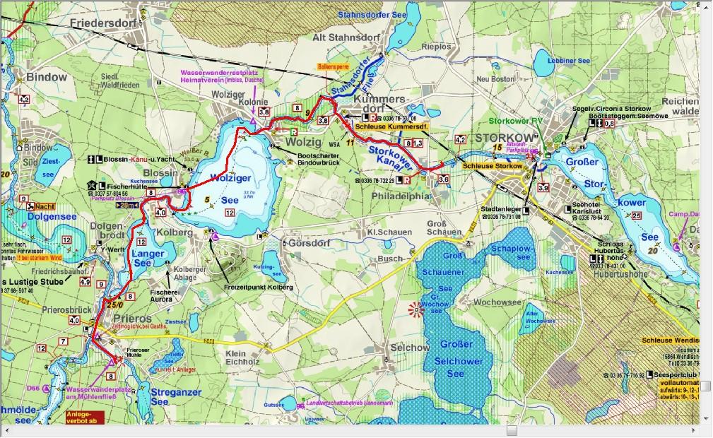 Dag1 Van Prieroser Mühle naar het Storkower Kanal (16,3 km)