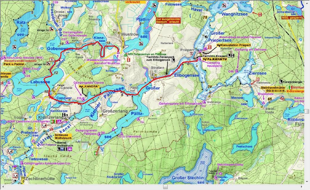 Van Priepert via Strassen en Canow naar Wüstrow