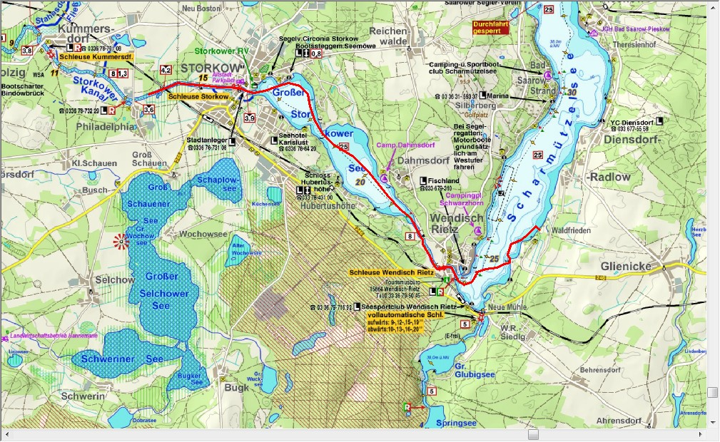 Van Storkower Kanal naar Scharmützelsee (13,6 km)