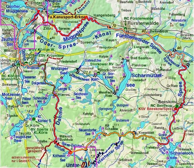 Märkische- of Grosse Umfahrt Augustus 2013. Start in Prieroser Mühle. Overnachting bij de kleurverandering van de routelijn.